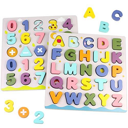 Puzzle Madera Rompecabezas Juguetes Montessori-2 in 1 Puzzles Numeros Alfabeto Infantiles de Madera Habilidad Mmotora Fina Juegos Educativos Niños Niñas 3 4 5 Años