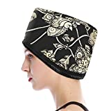 VICARKO Hair Steamer Thermal Heat Cap Deep Conditioning Natural Black Hair Scalp Treatment Spa Hot Head Care Electric for Home Use Black Jacquard