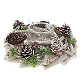 Portavelas navideño, 30 cm de diámetro, 10 cm de altura, madera con piña y ramas...