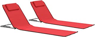 vidaXL 2X Esteras de Playa Plegables Tela Rojo Accesorios de