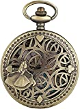 HGDH Cadena de Reloj de Bolsillo Reloj de Estampado de Princesa Hueco Premium para Mujer Relojes Elegantes de Bolsillo de Cuarzo para Mujer para Hombres Mujeres Regalo