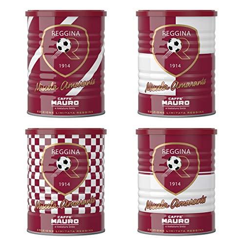 Caffé Mauro | Miscela Amaranto Caffé Macinato 4 Lattine da 250gr cad | Lattine Edizione Limitata nei colori del Reggina Calcio