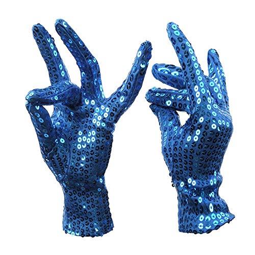 Ywlanlantrading Handschuh Tanzende Handschuhe Paillettenhandschuhe Nachtclub Sänger Tanzperformance Glänzende Pailletten Kurze Handschuhe (Color : Blue)
