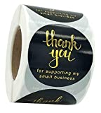2 'Gracias Pegatinas, 500 piezas, 4 diseños de fuente dorada de agradecimiento para paquetes de tartas de pequeñas empresas, sobres para envolver regalos para bodas, cumpleaños y fiestas