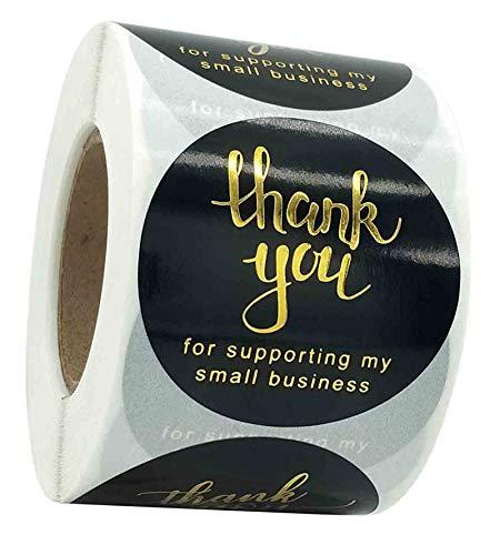 2 Inch Danke Aufkleber, Große Größe 500 Stück 4 Designs Thank You für Unterstützung meiner Small Business Aufkleber, Goldene Schrift Etiketten für Online-Händler Backen Hochzeit Geburtstag Fest