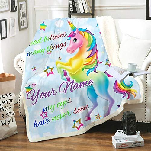Manta Unicornio Animal de Dibujos Animados Azul Amarillo Verde Rosa Manta Impresa en 3D súper Suave y acogedora Sherpa Polar Manta (130 x 150 cm) para niños,niños,Adultos,Cama,sofá y Viaje de