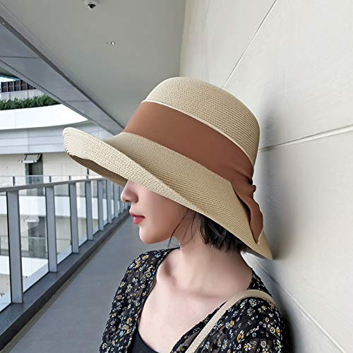 QQYZ strohoed vrouw zomer opvouwbare strand hoed vrouwen vakantie kap boog visser hoed stro hoed pot pet (ad