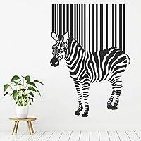 バーコードウォールステッカーゼブラアブストラクトアート動物壁画動物園テーマキッズベッドルーム保育園室内装飾ビニールウィンドウステッカー