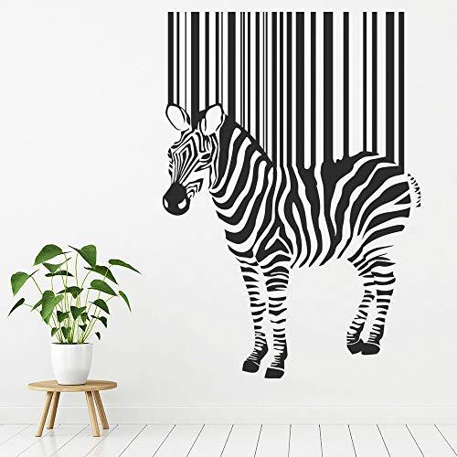 Pegatinas de pared con código de barras, arte abstracto de cebra, Mural de animales, tema de zoológico, dormitorio de niños, decoración de interiores, pegatinas de vinilo para ventanas