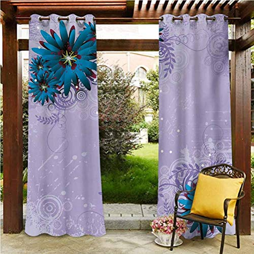 ScottDecor Floral Shade Screen Solid Wind Keep Out Curtain Graphic Ornamental Flowers on Lilac Background Modern Illustration Lilac Dark Blue and Burgundy 96' W by 96' L(K245cm x G245cm)