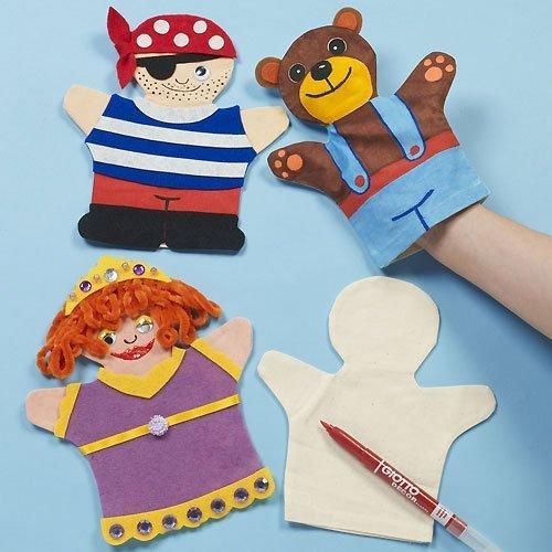 Baker Ross Marionetas de mano de tela que los niños pueden pintar y decorar...