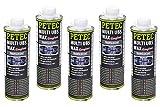 Petec UBS - 5 confezioni da 1000 ml di cera protettiva per sottoscocca a base di cera, trasparente