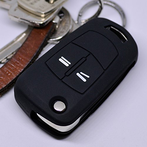 Soft Case Silikon Schutz Hülle Auto Schlüssel Schwarz kompatibel mit Opel Astra Vectra Corsa Zafira Signum bis 2008