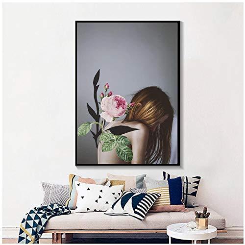 Vscdye Una Flor Crece en la Espalda de la niña, nórdico, Moderno, Abstracto, Estilo de Moda, Pintura en Lienzo, Imagen artística, HD, decoración del hogar, 20x30 en sin Marco