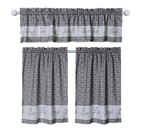 """Seibeh Tex Country Gingham Check Live, Love, Laugh Window Curtain Tier Pair and Valance Set, Pair & Valance 58"""" x 36"""""""