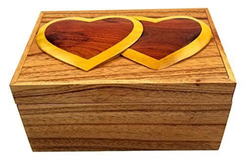 Oberstuff Two Hearts Jewelry Box, 6 x 4 x 3.25, All Natural Exotic Woods with Brass Hinged Lid. Hand-Made Wood Onlay Design on Lid.