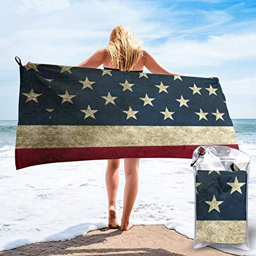 FLDONG Toalla de playa de secado rápido, toalla de baño con impresión de bandera estadounidense, ultra absorbente, suave, compacta, ligera, adecuada para niños y adultos 81.5 x 153 cm