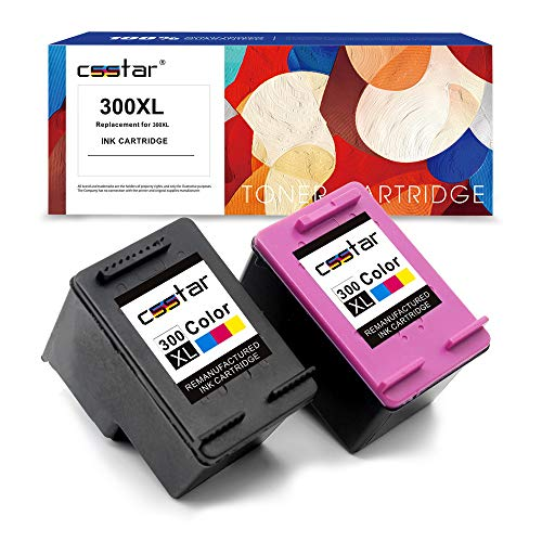 CSSTAR Remanufactured Cartouche d'encre Replacement pour HP 300XL 300 XL pour DeskJet D2660 D5560 F2480 F4280 F4580 Envy 110 114 120 PhotoSmart C4680 C4780 C4670 C4600 C4700 Imprimante, Noir Couleur