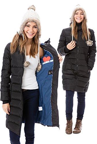 GoFuture Damen Tragejacke für Mama und Baby 4in1 Känguru Jacke Umstandsjacke Daunen Winter GF2265XA5 Schwarz mit blauem Innenfutter - 4