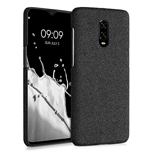 kwmobile Schutzhülle kompatibel mit OnePlus 6T - Hülle - Stoff Cover Handyhülle - Backcover in Dunkelgrau