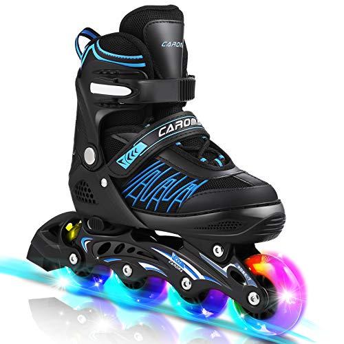 Inline-Skates mit 8 LED-Rädern im Freien 3-fach verstellbare Rollschuhe für Kinder, Frauen, Männer (Blau, S(30-33))