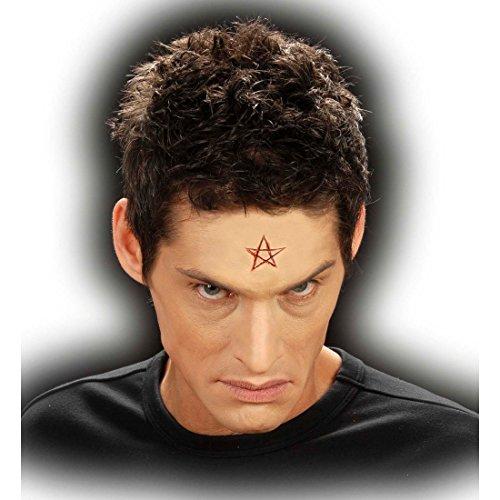 Amakando Application diabolique Pentagramme Enfer Maquillage théâtre Carnaval Diable démon grimage Professionnel Halloween Accessoire