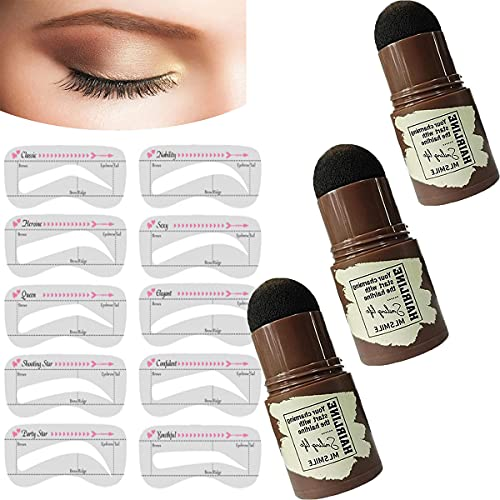 QIRU 3colors Best Eyebrow Stamp Waterproof,One Step Eyebrow Stamp Shaping Kit,Woman Makeup Eyebrow Stamp Kit,Adjustable Eyebrow Stamp with Eyebrows Stencil Stickers Makeup Tools for Women
