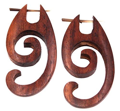 BALI PAPAYA Faux Ecarteur Bois Boucles d'oreilles Piercing Wooden Fake Expander Gauge Wood Earring Earrings Fake Paire Spirale Marron