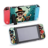 SUPNON Halloween Pug Dog Dressed As Witch with Hat, Protective Case Compatible with Nintendo Switch Soft Slim Grip Cover Shell for Console & Joy-Con with Screen Protector, Thumb Grips Design40617
