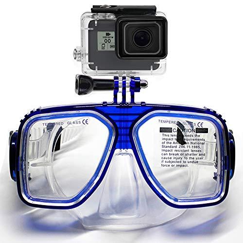 Cali Jade Diving Mask Schwimmen Schnorchel Scuba Adventure Brille Unterwasserbrille mit Silikonrock und Gurt für GoPro Hero 7/6/5 Black, Hero 5, Hero 4, Hero Session (Blau)