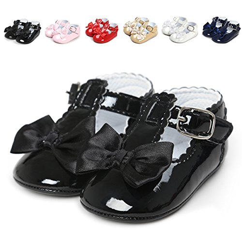 QGAKAGO Infant Baby Girls' Princess PU Leather Mary Jane Shoes Soft Sole Bowknot Shoes (M: 4.73 inch(6~12 Months), Black)
