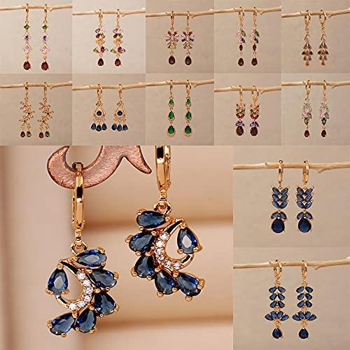JIUXIAO Pendientes de Gota Bonitos para Mujer, Pendiente de Color Dorado con Hoja, Gota de Agua, joyería de circonita Azul para Fiesta de Boda