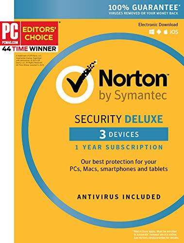 Symantec Norton Security Deluxe  3 Devices  1 Year Subscription [PC/Mac/Mobile Key Card]