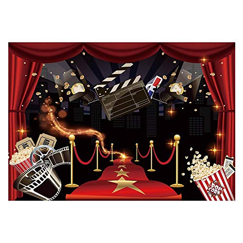 Funnytree 7x5ft Movie Night Party Backdrop Popcorn Birthday Background Premiere Marquee Red Carpet Celebrity Banner Photobooth Decorations Photo Studio Props