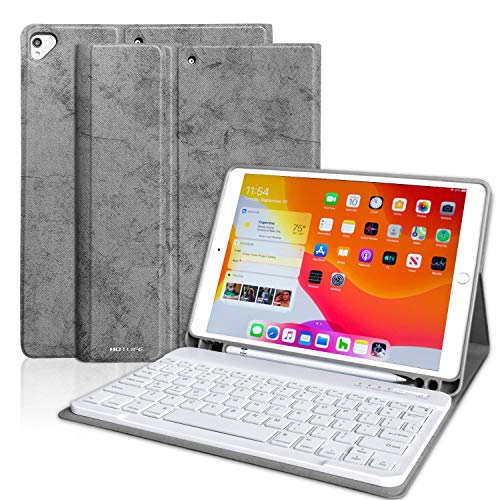 iPad Keyboard Case for New iPad 7th Generation 10.2 Inch 2019 Soft TPU Back Cover Case with Pencil Holder, Magnetically Detachable Wireless Bluetooth Keyboard for iPad 10.2'/iPad 10.5 Inch, Grey