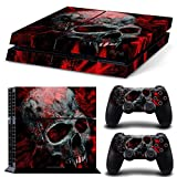 Gam3Gear Vinyl Sticker Pattern Decals Skin for PS4 Console & Controller (NOT for PS4 Slim / PS4 Pro) - Black Red Skull