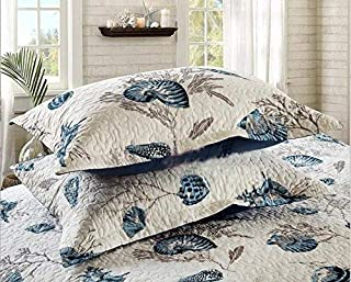 Blue Shell Tread Design Cotton Quilted Bed Pillow Cases 2 Pieces 19
