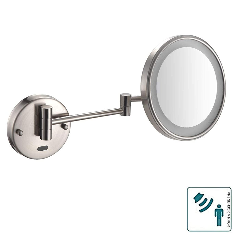 トリクル装備するエスカレーター浴室シェービングミラー壁に取り付けられたセンサーミラー化粧鏡LED調節可能な拡張可能な8インチ3x拡大英国プラグとホテルの虚栄心のための豪華な照明