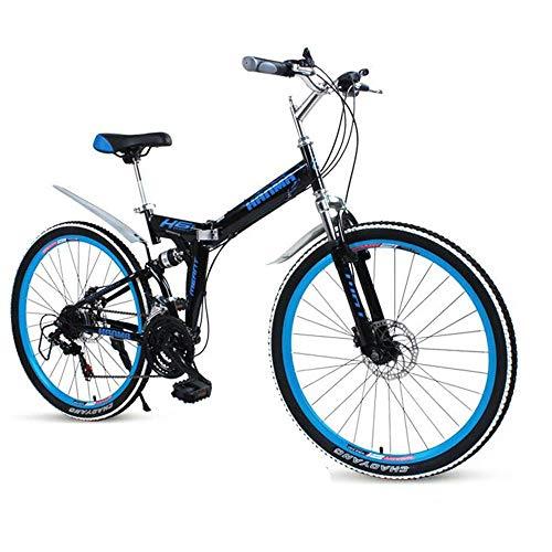 Implicitw Bicicleta de montaña plegable 21/24/27 velocidad disco freno doble absorción de choque negro azul-azul oscuro_27 velocidad 26'
