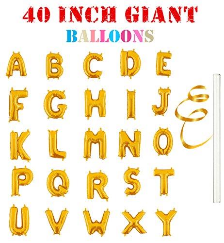 Rose&Wood 40 Single Gold Alphabet Letter Balloons Aluminum Hanging Foil Film Balloon Mylar Balloons (40,Letter F)