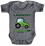 ShirtStreet Bauer Traktor Farmer Farm Strampler Bio Baumwoll Baby Body kurzarm Jungen Mädchen Landwirt Loading, Größe: 0-3 Monate,Heather Grey Melange
