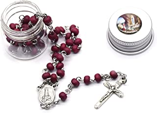 BMBN Ketting Crystal Jezus Kruis, Rose geur Rozenkrans Kruis Ketting met Opbergdoos voor Religieuze Kerk Decoratie Houten ...