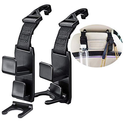 ZOOENIE Auto Rücksitz Kopfstützen Haken, 2 PCS Autositz Aufhänger Speicher Organisator Flaschenhalter, Auto-Handtaschenhalter, Der clevere Handtaschen Haken für die Kopfstütze