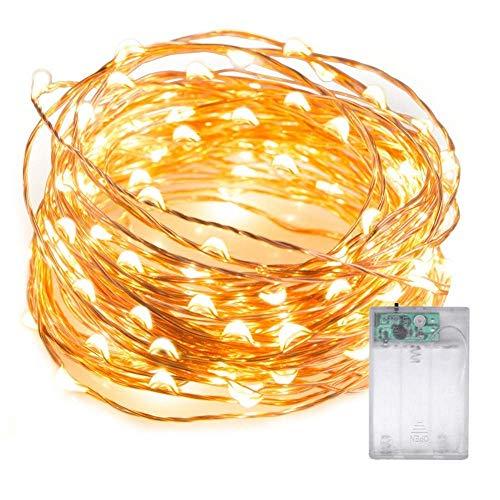 LED luci, 5m/5m 50LED lucciola string luci a batteria Starry Fairy Lights impermeabile luci decorative Twinkle per camera da letto, Natale, party, matrimonio (bianco caldo)
