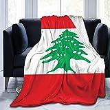 AOOEDM Manta suave con bandera libanesa para todas las estaciones de la estación, manta de microfibra cálida de franela mullida, chales y envolturas para sofá