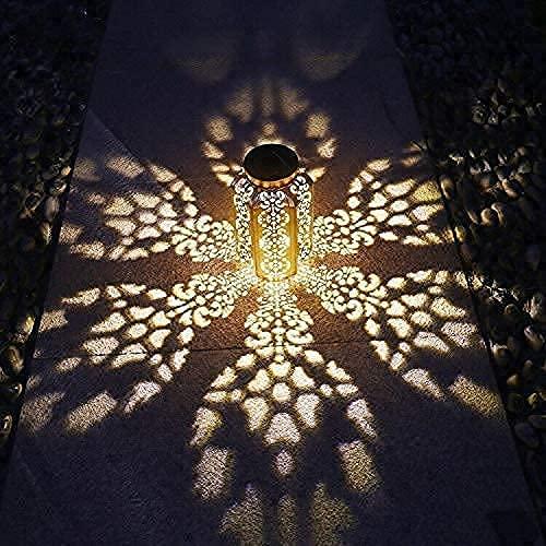 Esgarden Solar Lantern Outdoor Solar Light Metal Hanging Solar Garden Lantern for Patio , Courtyard, Party, Walkway,Terrace, Garden, Lawn Decorative 1 Pc (Copper)