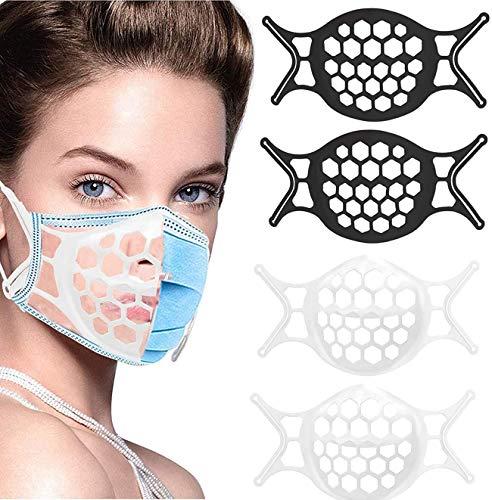 Soporte interno 3D, respiración cómoda, puede proporcionar protección de lápiz labial para evitar la respiración de la tela, 4 piezas de papel blanco y negro lavables y reutilizables.