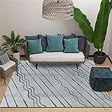 Alfombra Alfombra Lavable Sala de Estar Alfombra Gris Adornada con Rayas Azules de Ondas, cómoda y Transpirable alfombras pasilleras Modernas Alfombra para niños 120*200cm