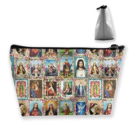 Mujeres Damas Niñas Estuche de Maquillaje Bolsa de Embrague Bolsa de Viaje Soporte de Gran Capacidad Bolsa de Equipaje Bolsa de Equipaje Bolsa de Aseo Imágenes de los Santos Católicos