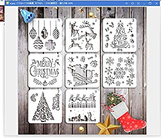 KOMIWOO Christmas Stencils Templates - 8 Pack Merry Chrismas, Stanta Claus, Snowflakes, Balls, Trees, Reindeers, Gift Boxes for Xmas Holiday Craft Party Decorations 5